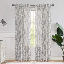 Central Park Gray Linen Leaf Palm Window Curtain Panel Print Rustic Farmhouse Drapes Rod Pocket Back Tab Semi Sheer Curtains for Living and Bedroom Modern Design, 50x84 Inches 1 Piece, Linen