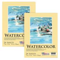 """U.S. Art Supply 9"""" x 12"""" Premium Extra Heavy-Weight Watercolor Painting Paper Pad, 90 Pound (190gsm), Pad of 24-Sheets (Pack of 2 Pads)"""
