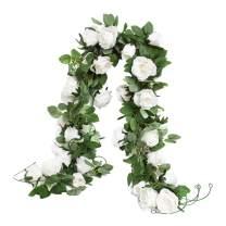 Huata 3PCS 6.56Ft Artificial Rose Flower Silk Vine Hanging Wedding Decor Garlands Home Outdoor Indoor Decor Flower (White)