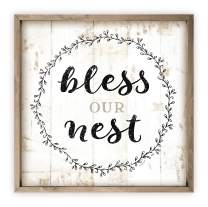 Bless Our Nest Rustic Framed Wood Farmhouse Wall Sign 12x12 (Frame Included)