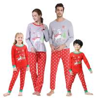 Hupohoi Family Matching Pajama Sets Cute Polar Bear Sleepwear Christmas Clothes Elk Pjs