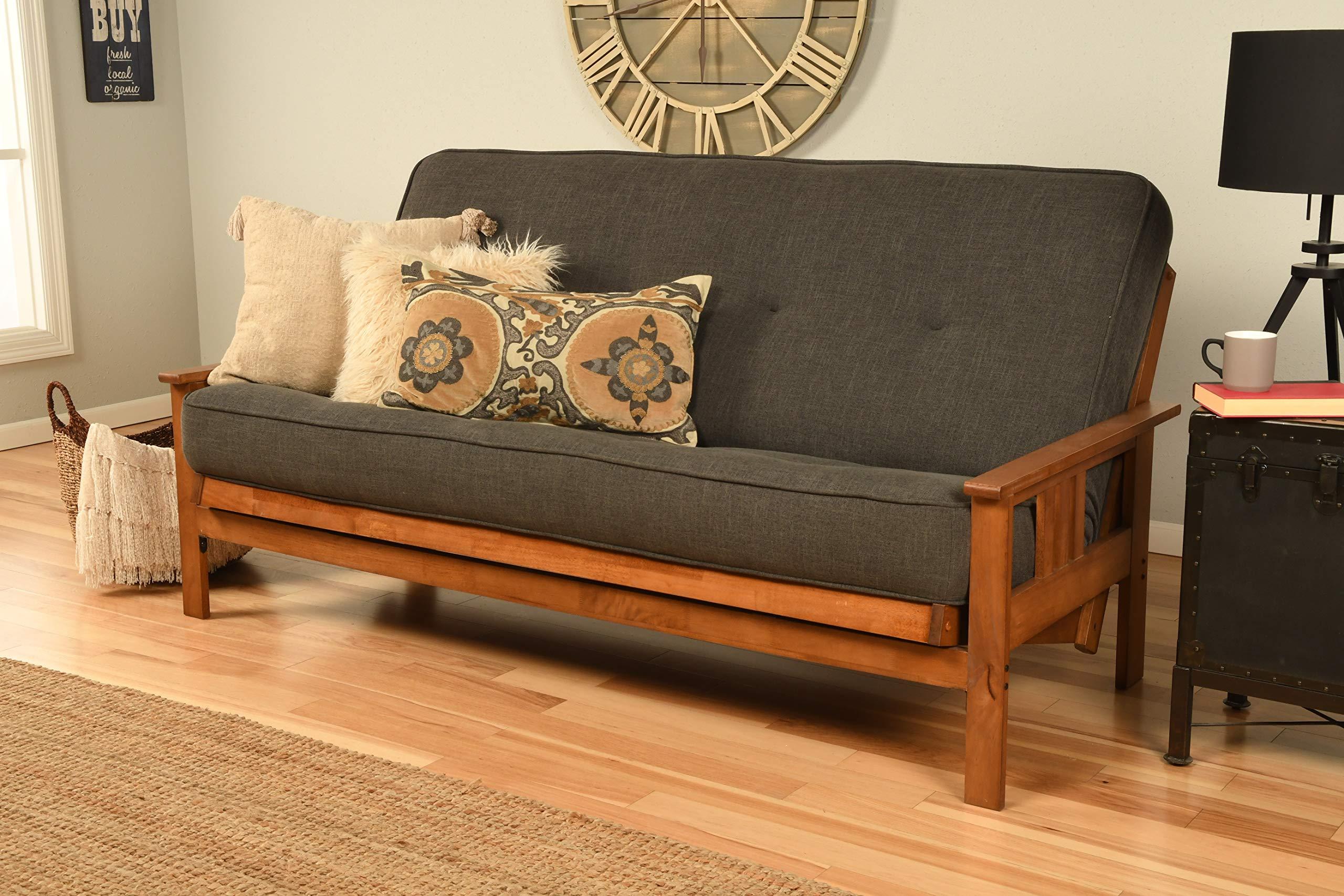 Kodiak Furniture Monterey Futon Set with Barbados Finish, Full, Linen Charcoal