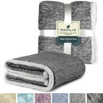 PAVILIA Melange Sherpa Fleece Throw Blanket | Super Soft, Reversible, Microfiber Fleece Blanket Throw | Luxurious Plush Fuzzy Dark Grey TV Blanket for Couch Sofa(50x60 Inches, Charcoal)