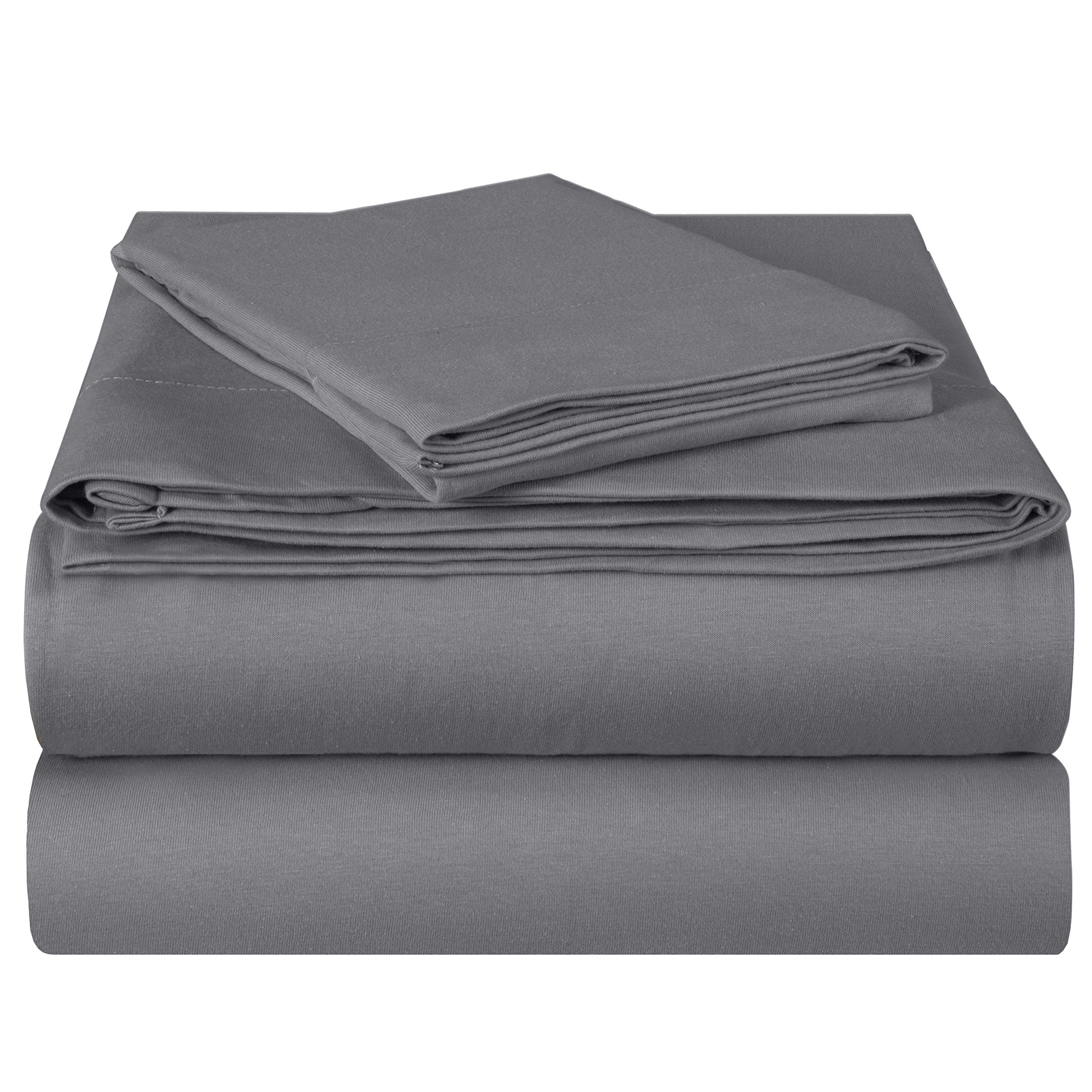 EnvioHome Quality Knit 100% Cotton Jersey Bed Sheet Set - 3 Piece - Twin, Charcoal