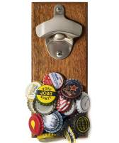 Wall Mount Bottle Opener with Embedded Magnetic Cap Catcher in Solid Wood, Fridge Mountable by CAPLORD - Novelty Beer Lovers Gifts for Men & Women, Cool Birthday Gift Idea for Husband, Dad, Uncle