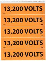 """NMC JL2038O Electrical Marker, Legend""""13,200 Volts"""", 9 Length x 2-1/4"""" Height, Pressure Sensitive Vinyl, Black on Orange (Pack of 25)"""