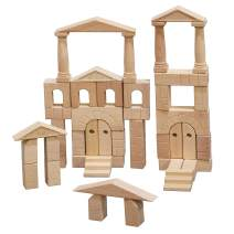 ECR4Kids Hardwood Architectural Unit Block Play Set with Canvas Carry Case - Educational Wood Building Block Kit, Natural Finish (48-Piece Set)