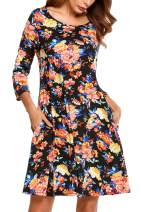 Zeagoo Women's Casual Floral Dresses Vintage A-line Christmas Party Shirt Dress