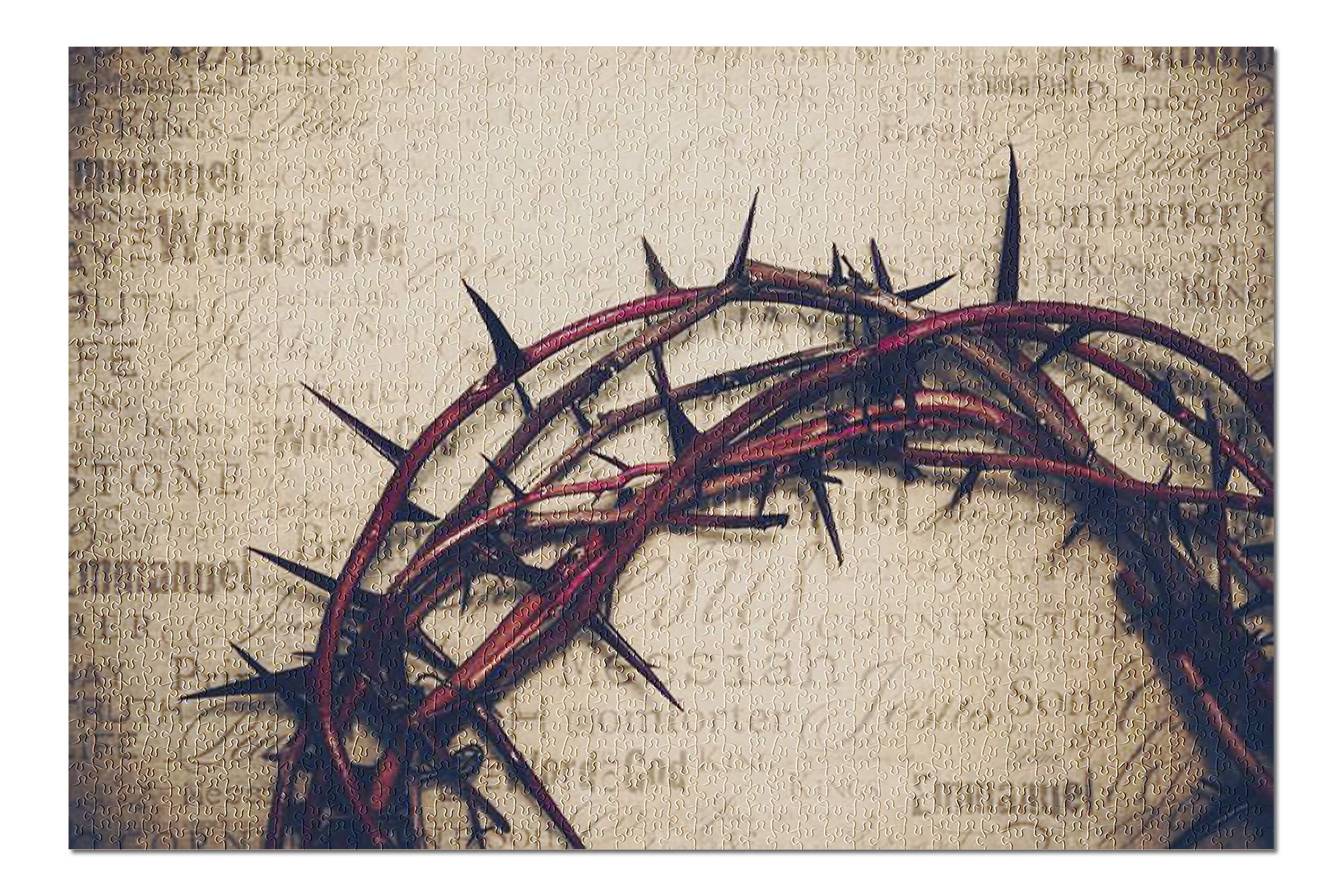 Crown of Thorns with Jesus Names & Attributes on Antique Paper 9012667 (19x27 Premium 1000 Piece Jigsaw Puzzle, Made in USA!)