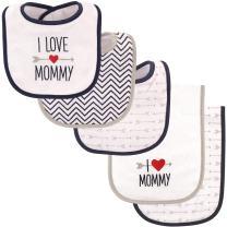 Luvable Friends Unisex Baby Bib and Burp Cloth Set, Boy Mommy, One Size