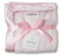 SwaddleDesigns Stroller Blanket, Cozy Microfleece, Pastel Pink Puff Circles with Satin Trim