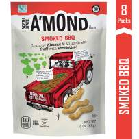 A'mond Smoked BBQ Snack Puffs, Crunchy Almond & Multi-Grain Super Food Snack Puff, Plant-Based, Gluten-Free, Non-GMO, 8 Pack, 3 oz Each