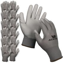 ACKTRA Ultra-Thin Polyurethane (PU) Coated Nylon Safety WORK GLOVES 12 Pairs, Knit Wrist Cuff, for Precision Work, for Men & Women, WG002 Grey Polyester, Grey Polyurethane, Small