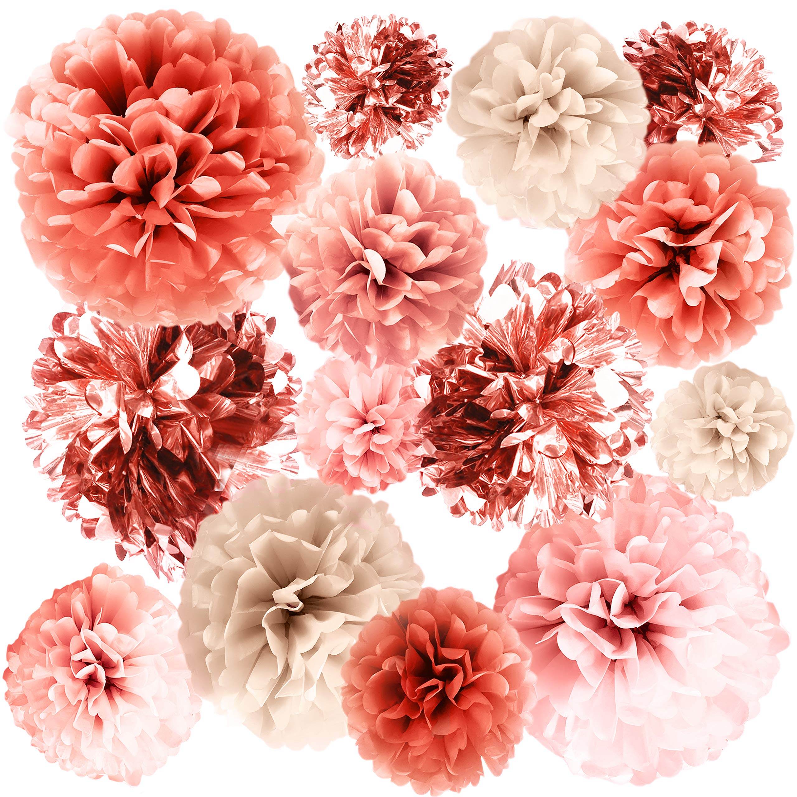 """VINANT 20 PCS Rose Gold Party Decorations - Metallic Foil and Tissue Paper Pom Poms - Birthday Party Decoration - Baby Shower - Bridal Shower - Bachelorette - Garden Party - 14"""", 10"""", 8"""", 6"""""""