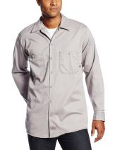 Dickies Occupational Workwear LL307GG Cotton Men's Long Sleeve Industrial Work Shirt, Graphite Gray