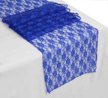 mds Pack of 20 Wedding 12 x 108 inch Lace Table Runner for Wedding Banquet Decor Table Lace Runner- Royal Blue