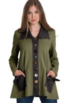 Neon Buddha Women's Cotton Jacket Female A-Line Blazer with Oversized Reverse Collar, Contrasting Buttons and Pockets