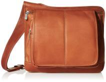 Piel Leather Slim Line Flap-Over Ladies Bag, Saddle, One Size