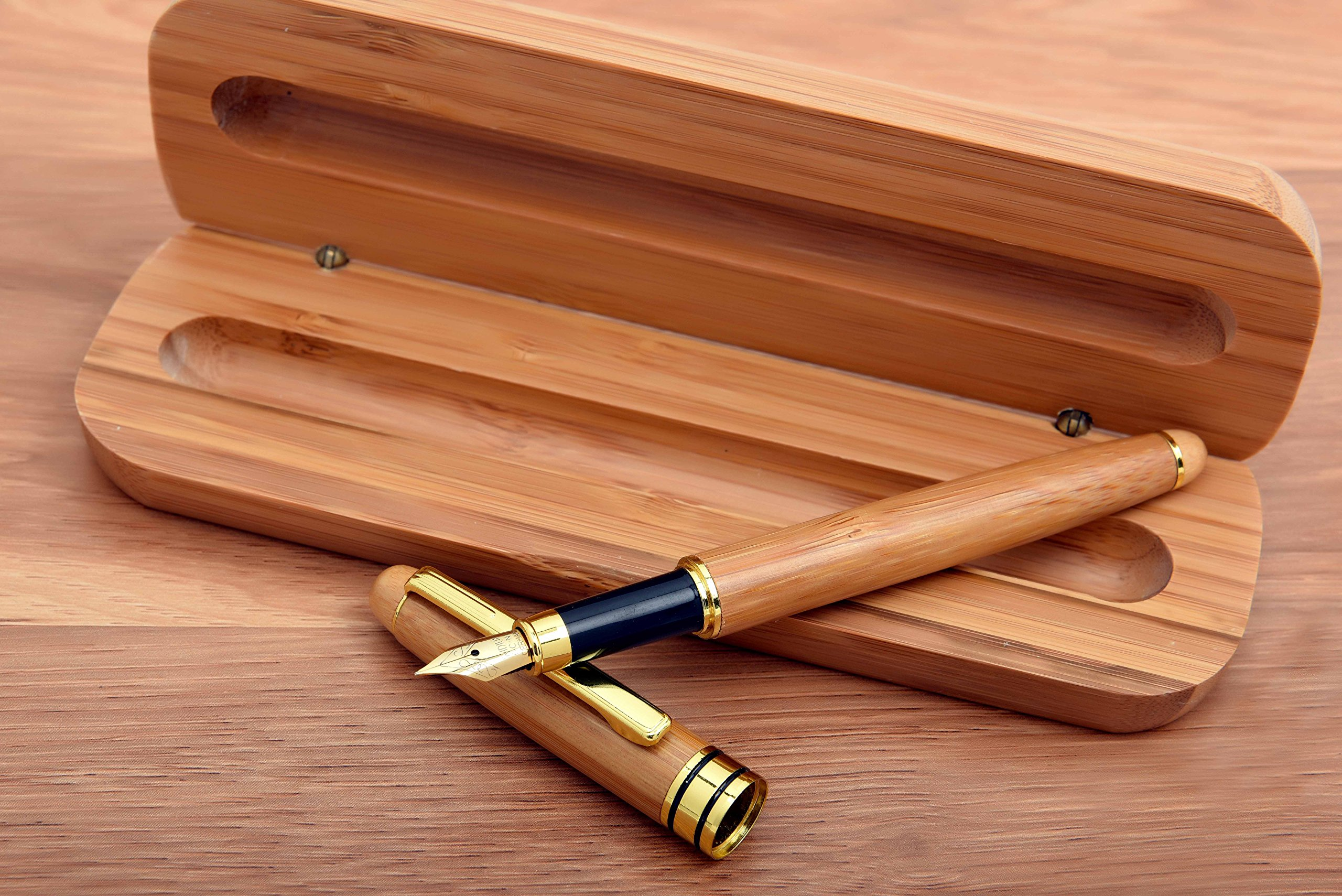 Fountain Pen With Case | Calligraphy Fountain Pen | Natural Handcrafted Fountain Pen With Bonus Wood Case & Ink Refill Converter (Bamboo - Gold NIB - Matching Woodcase)