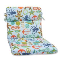 "Pillow Perfect 569543 Outdoor/Indoor Seapoint Summer Round Corner Chair Cushion, 40.5"" x 21"", Blue"