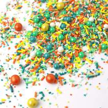 Green Tea Sprinkles Mix | Pastel | Yellow| Orange and Teal | Mint |Little Boy | Birthday | Father's Day | Spring Time | St. Patrick's Day| Gluten Friendly Sprinkles, 4OZ