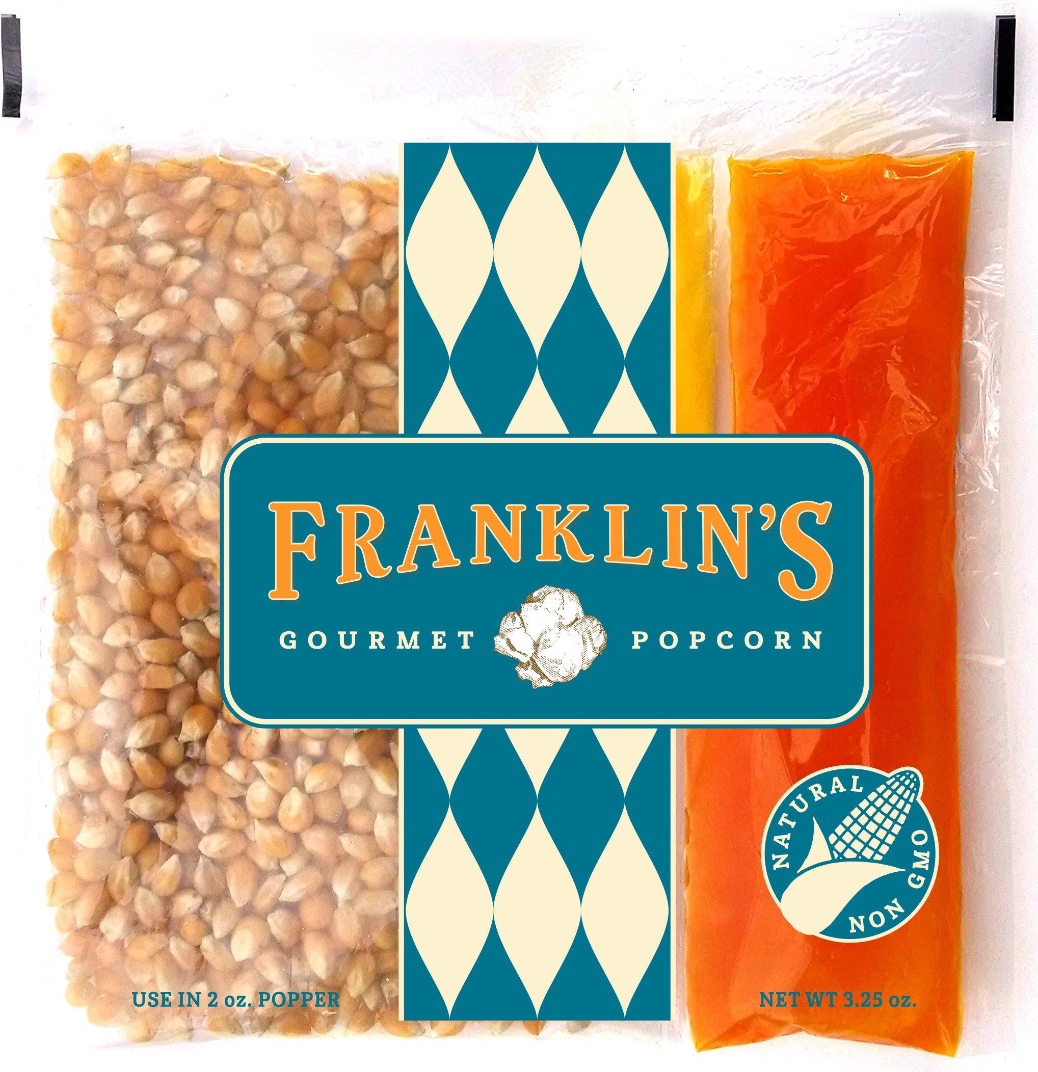 Franklin's Gourmet Popcorn All-In-One Pre-Measured Packs - 2oz. Pack of 24 - Butter Flavored Coconut Oil + Premium Butter Salt + Organic Corn, 100% Vegan - Best Movie Theater Taste – Made in USA