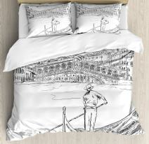 Ambesonne Venice Duvet Cover Set, Rialto Bridge with Gondola Romantic Italian Landmark Inspired Sketchy Cityscape, Decorative 3 Piece Bedding Set with 2 Pillow Shams, Queen Size, White and Black