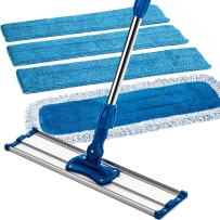 """Zflow 18"""" Professional Microfiber Mop - Commercial Stainless Steel Handle with Microfiber Dust Pad + 3 Microfiber Wet Pads"""
