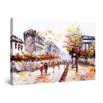 """Startonight Canvas Wall Art Abstract - Old Street in Paris Painting - Large Framed 32"""" x 48"""""""