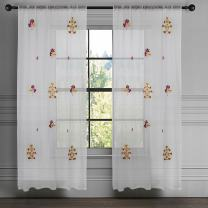 """Milano Home White Spring/Summer Sheer Curtains for Living/Bed Room Embroidery Rod Pocket Window Voile Panel 100% Cotton Excellent Quality, 52"""" x 84"""""""