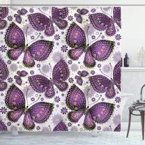 "Ambesonne Natural Shower Curtain, Butterflies with Paisley Motif on Wings Flowers Art Print, Cloth Fabric Bathroom Decor Set with Hooks, 75"" Long, Purple White"