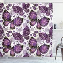 """Ambesonne Natural Shower Curtain, Butterflies with Paisley Motif on Wings Flowers Art Print, Cloth Fabric Bathroom Decor Set with Hooks, 75"""" Long, Purple White"""