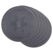 DII Placemat Braided Round, 15x15, Floral Gray 6 Piece