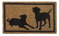 """Entryways Dog Silhouettes  , Hand-Stenciled, All-Natural Coconut Fiber Coir Doormat 18"""" X 30"""" x .75"""""""
