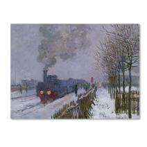 Train in The Snow by Claude Monet work, 18 by 24-Inch Canvas Wall Art
