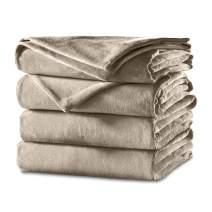 Sunbeam Heated Blanket   Velvet Plush, 10 Heat Settings, Mushroom, King - BSV9GKS-R772-12A44