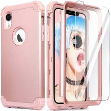 iPhone XR Case with Tempered Glass Screen Protector, iPhone XR Case for Women, IDweel 3 in 1 Shockproof Slim Hybrid Heavy Duty Hard PC Cover Soft Silicone Rugged Bumper Full Body Case, Rose Gold