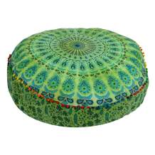 Mandala Floor Pillow Cushion Seating Throw Cover Hippie Decorative Bohemian Ottoman Poufs, Pom Pom Pillow Cases,Boho Indian (35x35 Inch, Green Dye)