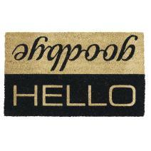 """DII 5269  Indoor/Outdoor Natural Coir Easy Clean Rubber Non Slip Backing Entry Way Doormat For Patio, Front Door, All Weather Exterior Doors, 18 x 30"""" - Hello/Goodbye"""