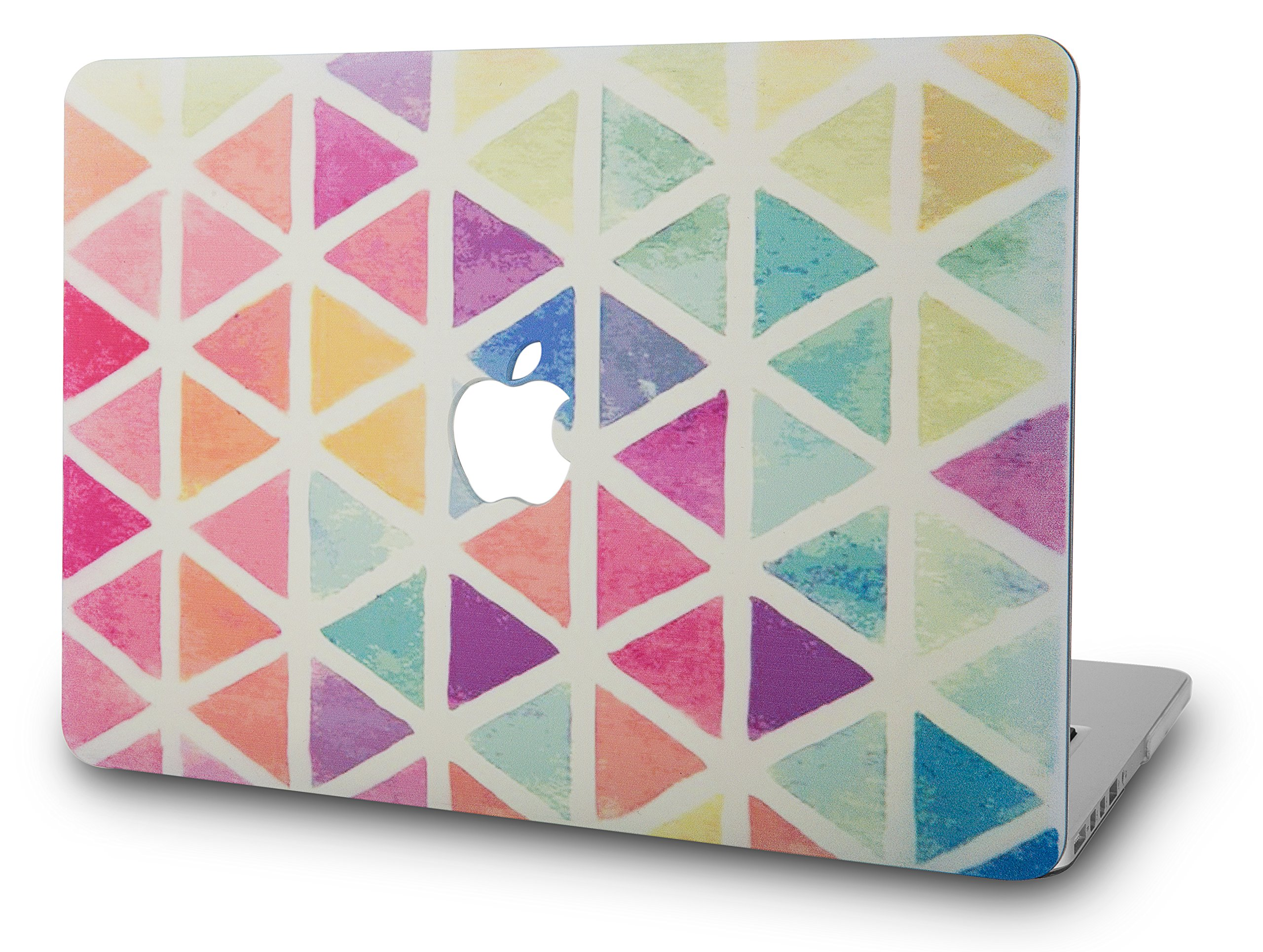"""KECC Laptop Case for MacBook Air 13"""" Retina (2020/2019/2018, Touch ID) Plastic Case Hard Shell Cover A2179/A1932 (Color Triangles)"""