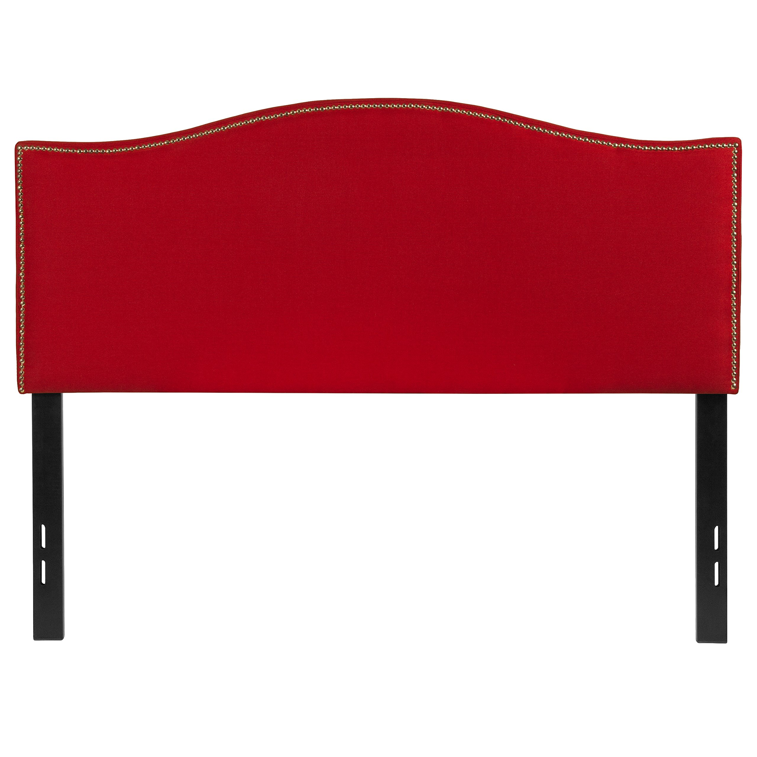 Flash Furniture Lexington Upholstered Full Size Headboard with Accent Nail Trim in Red Fabric