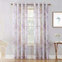 """No. 918 51967  Andorra Watercolor Floral Crushed Texture Sheer Voile Curtain Panel, 51"""" x 84"""", White"""