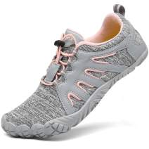 Voovix Women's Minimalist Trail Running Barefoot Shoes Wide Toe Shoes(Grey/Pink,40)