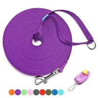BAAPET 15 ft, 20 ft, 30 ft, 50 ft, 100 ft Long Leash for Dog Cat Training, Play, Camping, or Backyard Lead with Free Training Clickers for Small, Medium and Large Dogs or Cats (15 Feet, Purple)