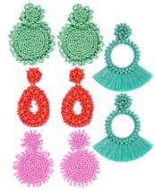 4 Pairs Statement Drop Earrings for Women - Bohemian Beaded Round Dangle Earrings Long Chandelier Earrings Idea Gift