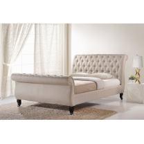 Baxton Studio Arran Linen Platform Bed, King, Light Beige