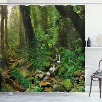 """Ambesonne Landscape Shower Curtain, Rainforest Trees and Fresh Grass in Nepal Jungle Wildlife Nature Tropical Photo, Cloth Fabric Bathroom Decor Set with Hooks, 75"""" Long, Green Brown"""