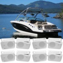 """(8) Rockville HP4S 4"""" Marine Box Speakers with Swivel Bracket for Boats"""