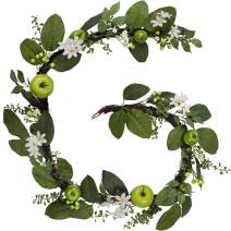 Valery Madelyn 6 Feet/72 Inch Spring Artificial Fruit Garland with Green Apples, Berries and Leaves for Front Door, Wall and Home Decorations