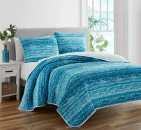 Mytex Ocean Waves 3-Piece All Season Prewashed Quilt Set, Coastal Beach Theme, Natural Puckered/Textured Look, 100% Cotton Fabric, Unique Watercolor Stripe, Aqua, Blue, White, King